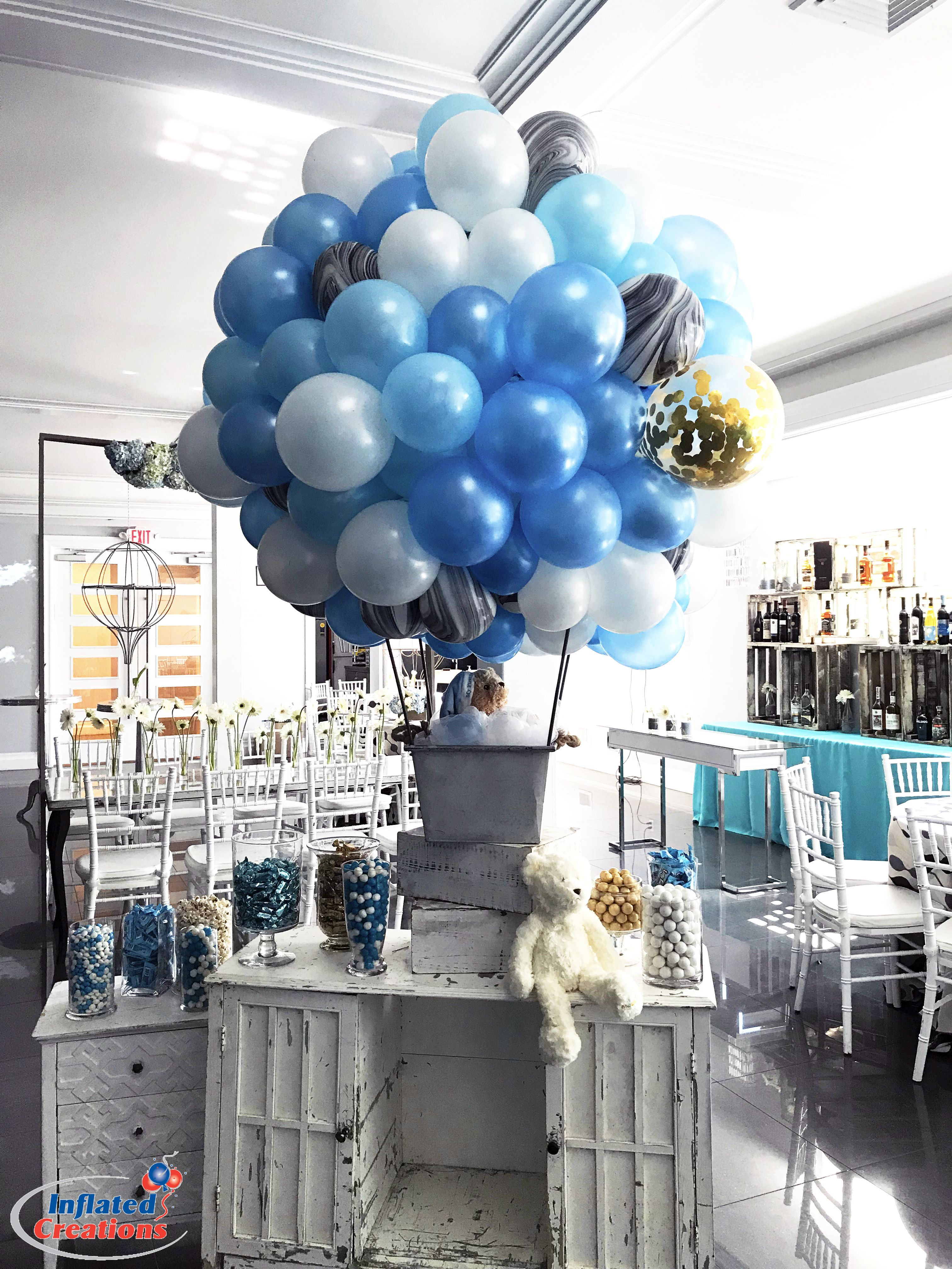 Baby Boy Party Baby Shower Bris Birthday Hot Air Balloon Table Decor Hot Air Balloon Baby Shower Baby Shower Balloons Baby Shower Decorations For Boys