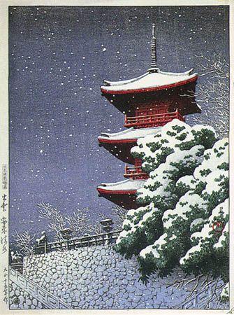 Yasaka Kiyomizu Temple  by Kawase Hasui, 1926