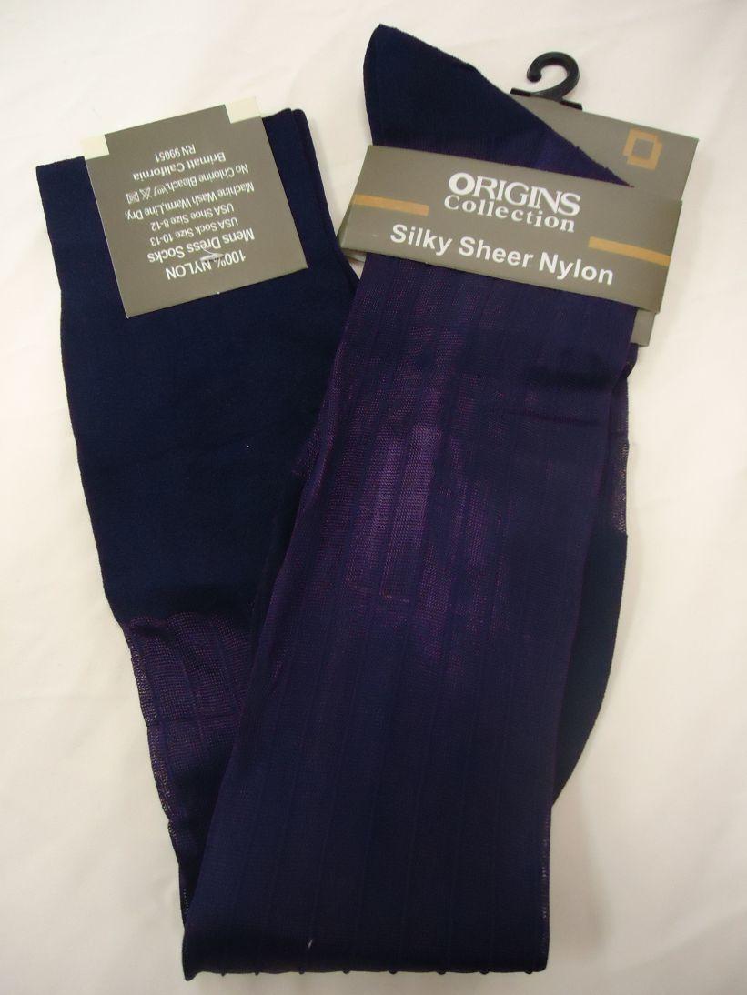 Purple dress socks  Mens Purple Origins Silky Sheer KneeHigh OTC Nylon Dress Socks TNT