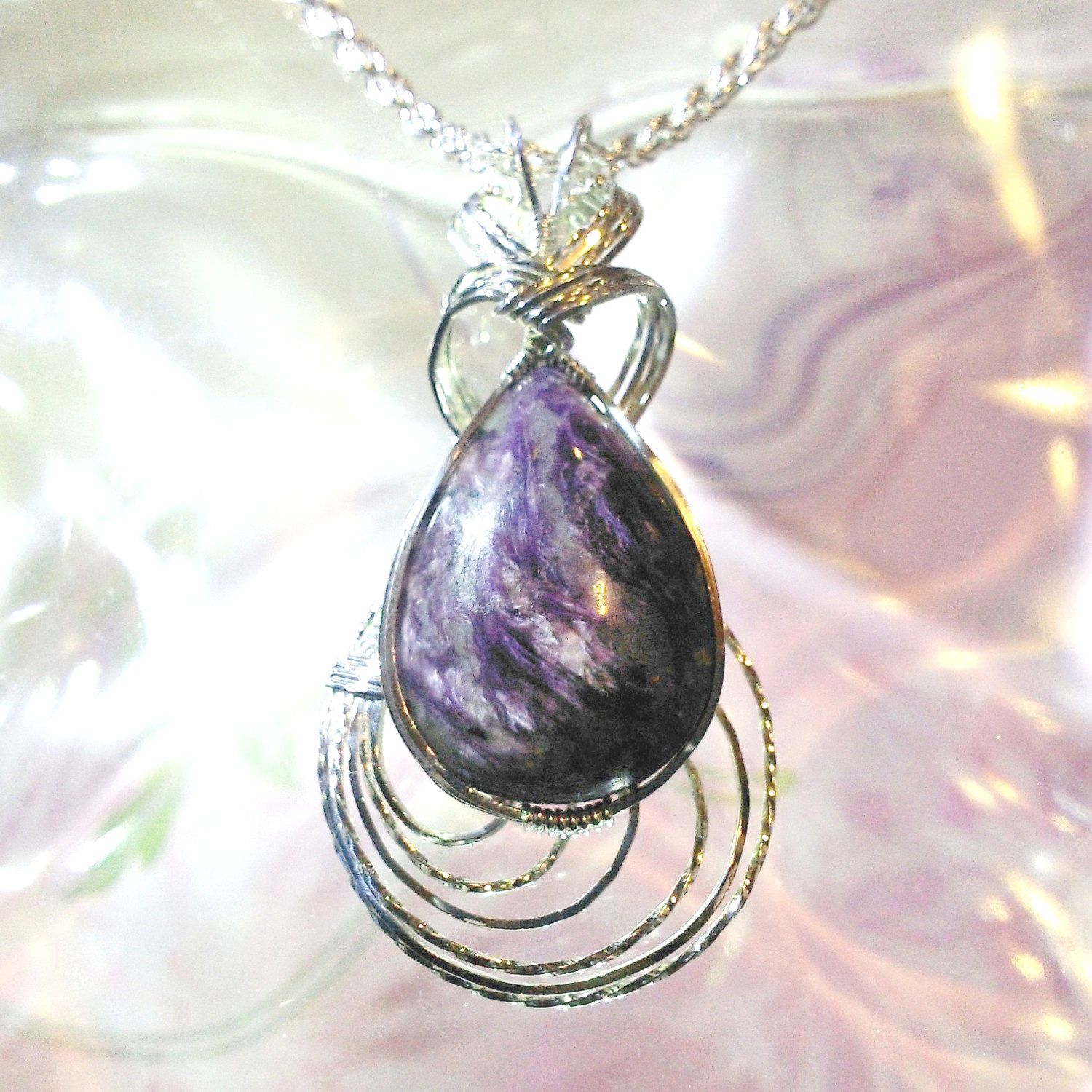 Purple Hearts Charoite Pendant Necklace Wire Wrapped Jewelry ...