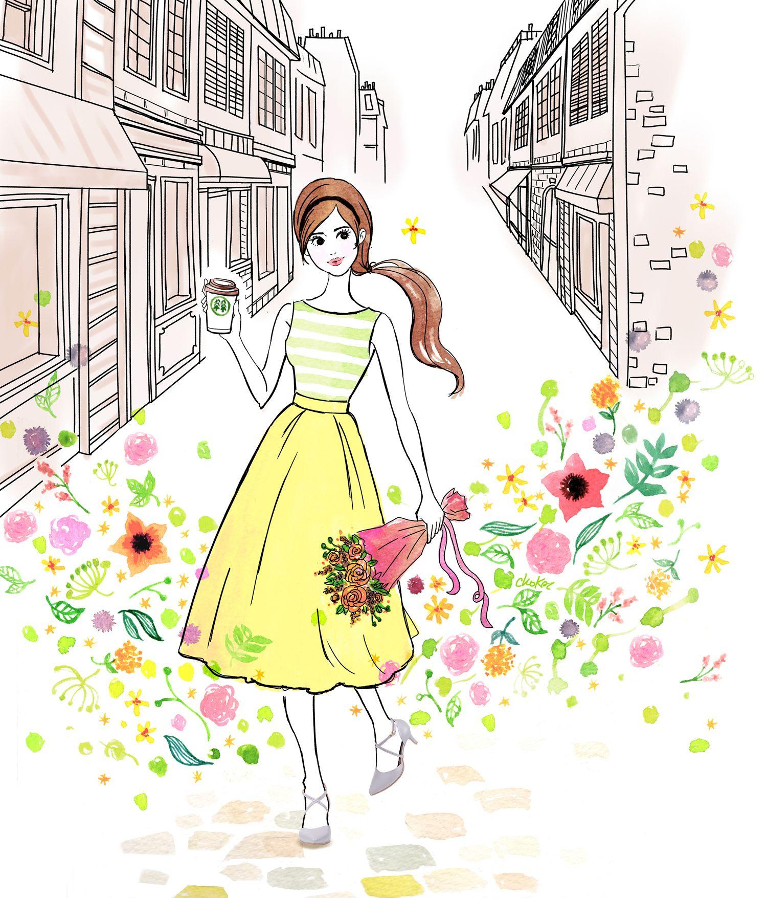 illustration choko #warm #illustration #paris #yellow #bicycle #spring #flower