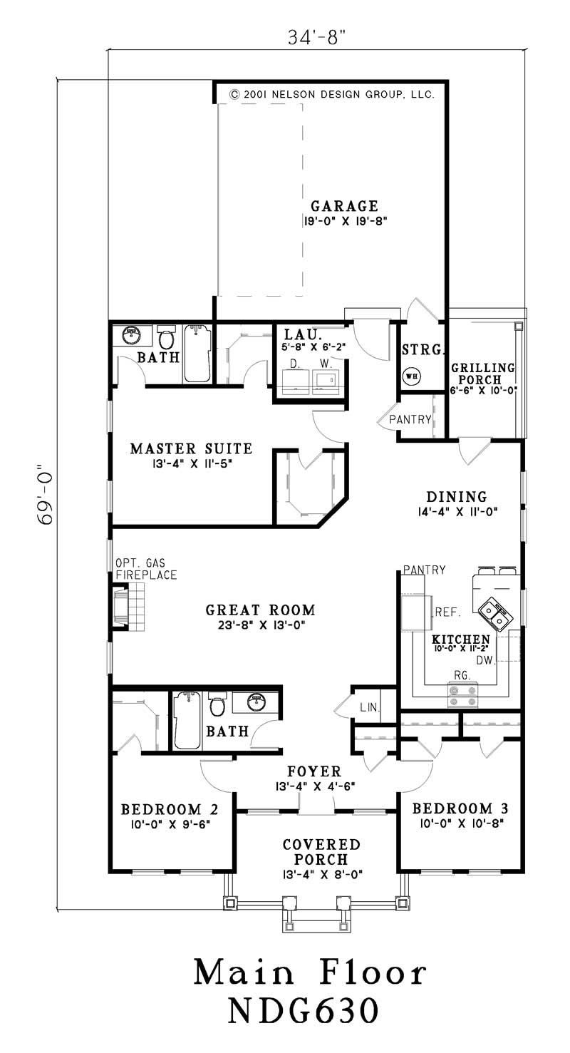 Traditional, Country House Plans - Home Design NDG-630 # 3347 | Bar ...