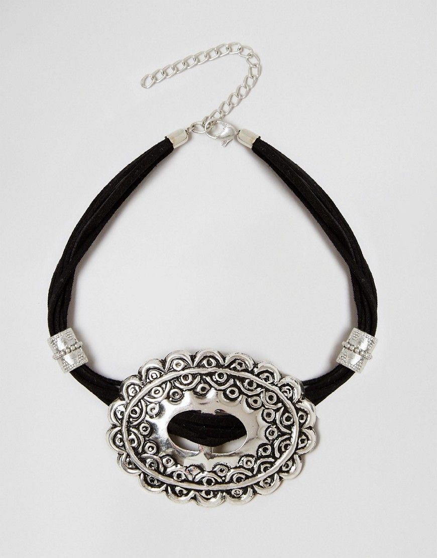 Image 1 of ASOS Big Western Buckle Choker Necklace