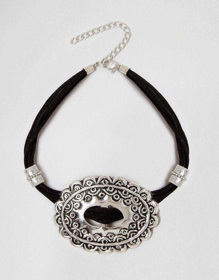 Image 1 ofASOS Big Western Buckle Choker Necklace