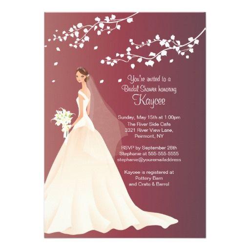 Trendy Autumn Crimson Bridal Shower Invite Bridal shower Autumn
