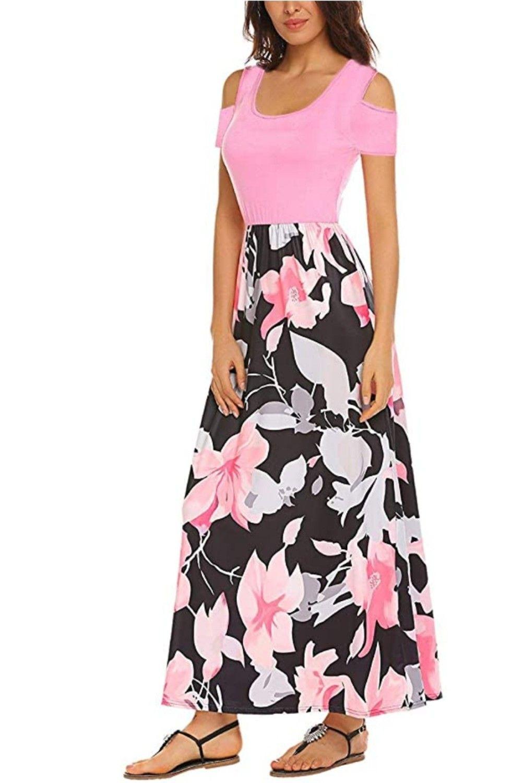 Women S Short Sleeve Floral Maxi Dresses Cold Shoulder Dress With Pockets Floral Maxi Dress Casual Dresses Plus Size Long Maxi Dress [ 1500 x 1000 Pixel ]