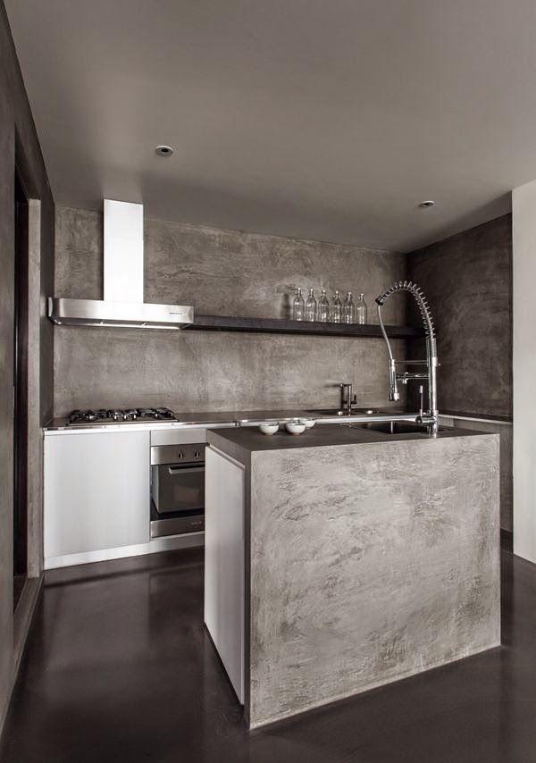 Suelo paredes y encimera en microcemento ref paredes for Cocinas de concreto modernas