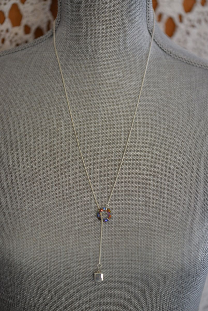 Sterling silver and Swarovski crystal lariat necklace