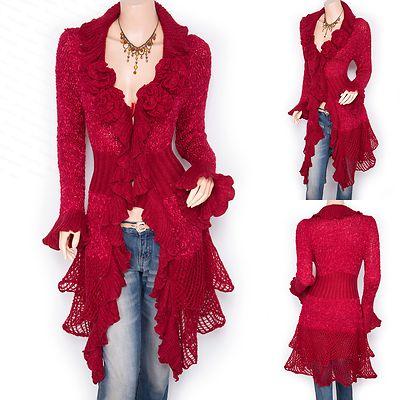 Stunning Ruffled Floral Applique Tiered Hem Cardigan Long Sweater Jacket