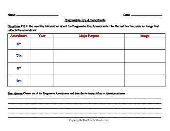 Progressive Era Worksheet Amendments and Legislation