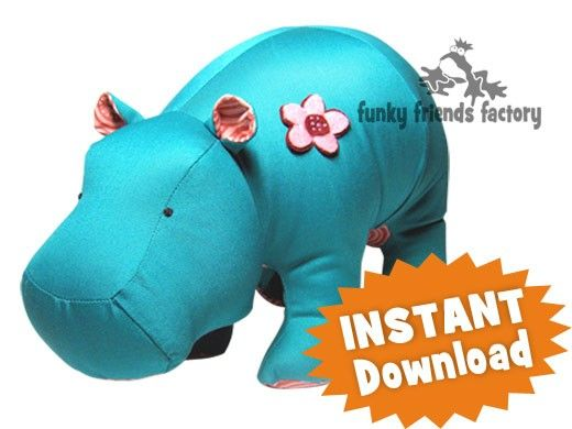 Heather Hippo Soft Toy Sewing Pattern INSTANT DOWNLOAD