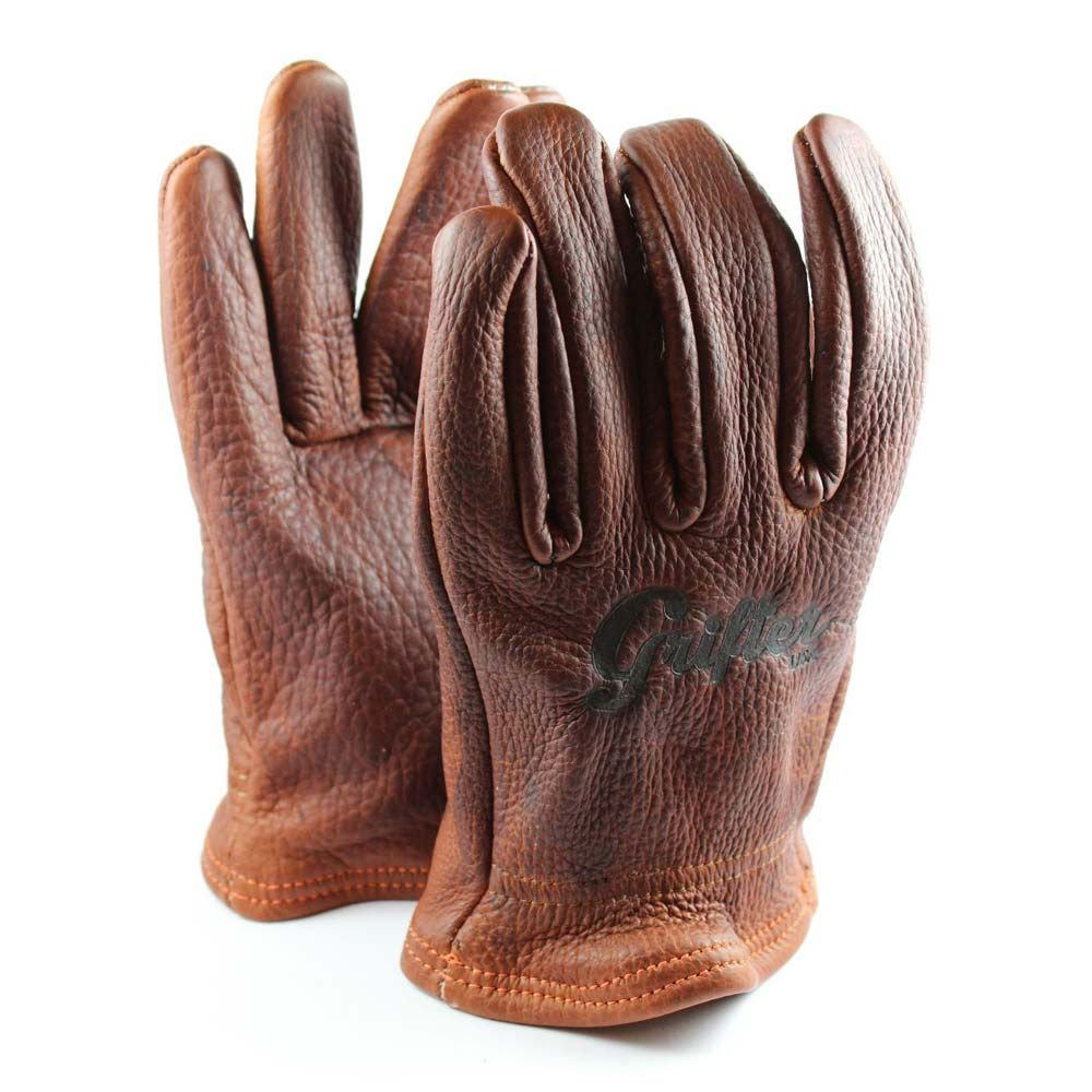 Mens Motorcycle Biker HeavyDuty Buffalo Leather Brown Full Finger Driving Gloves