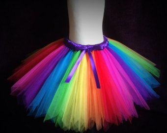 3e1a8a7c9d ADULT Rainbow Coloured Sparkly Knee Length Tutu by BloomingTutusUK Rainbow  Dress Up, Rainbow Tutu,