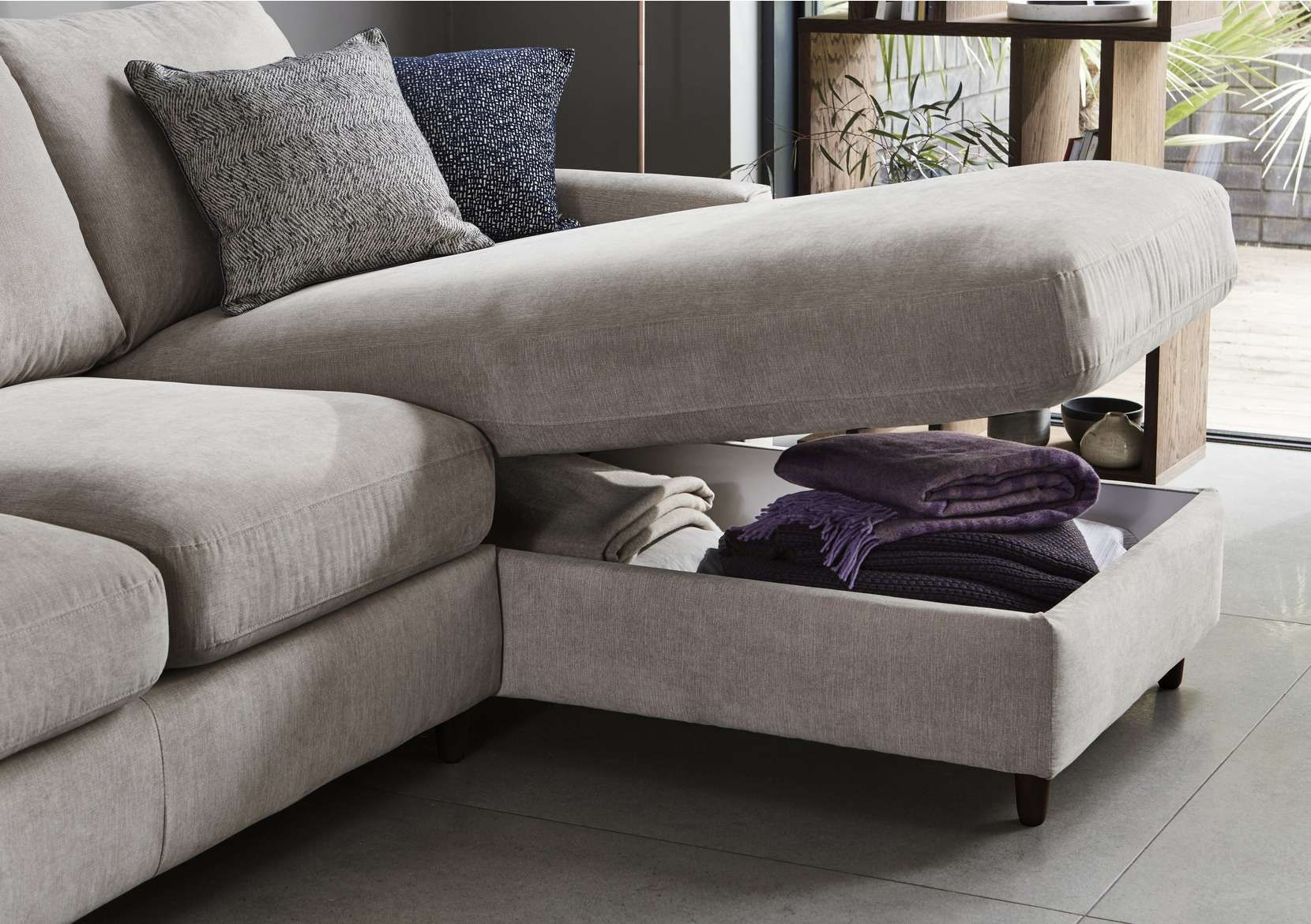 Esprit Fabric Chaise Sofa Bed With Storage In 2020 Sofa Bed With Storage Sofa Bed Design Chaise Sofa