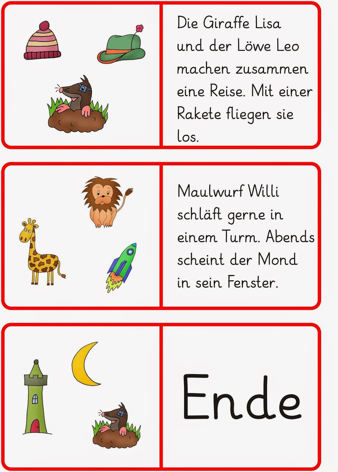 Lernstübchen: Lesedomino (1) | Language Learning | Pinterest | Die ...