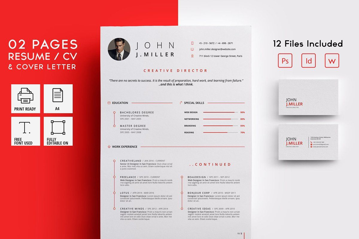 Ad 02 Pages Resume / CV by CodePower on creativemarket