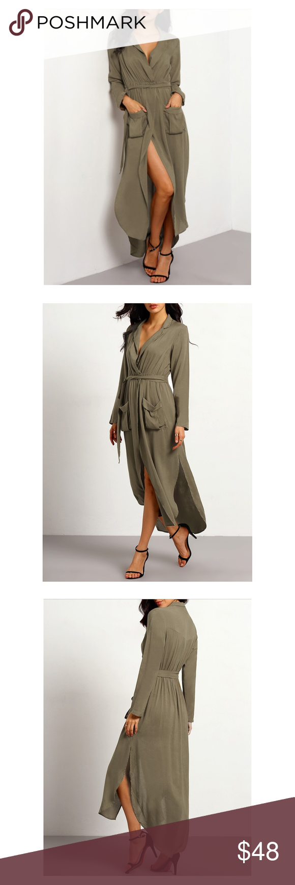 Last one green belted split maxi shirt dress boutique in my