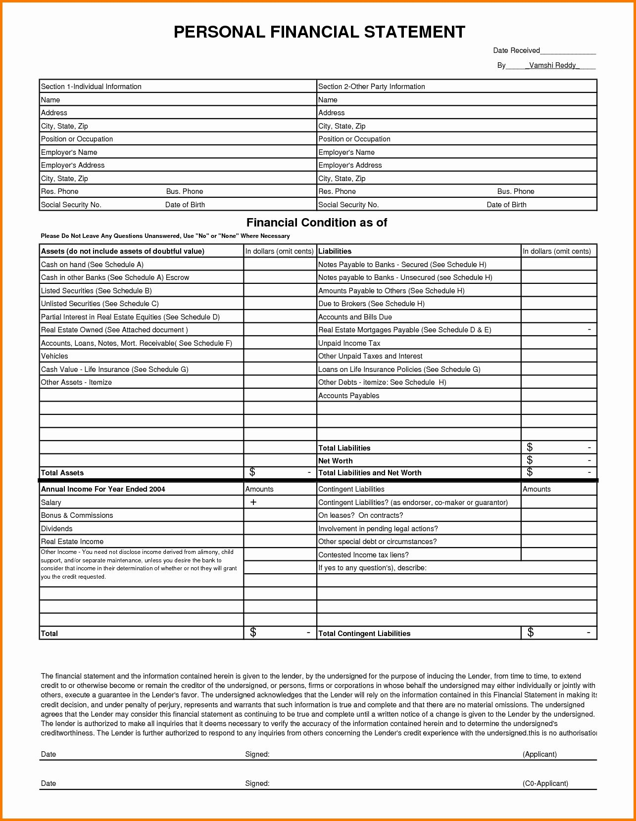 Pin On Financial Personal financial statement template xls