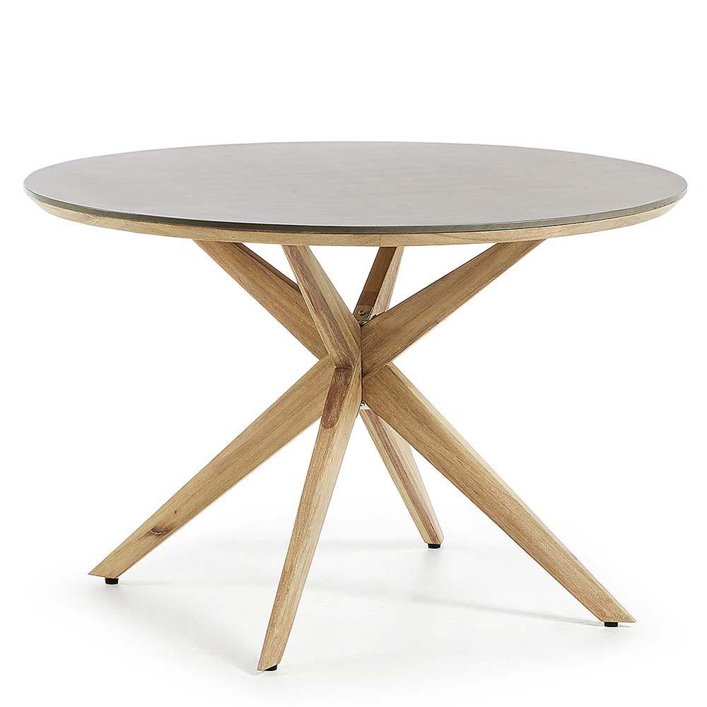 Runder Esstisch Mit Polyzement Platte Cempino Gestell Aus Holz