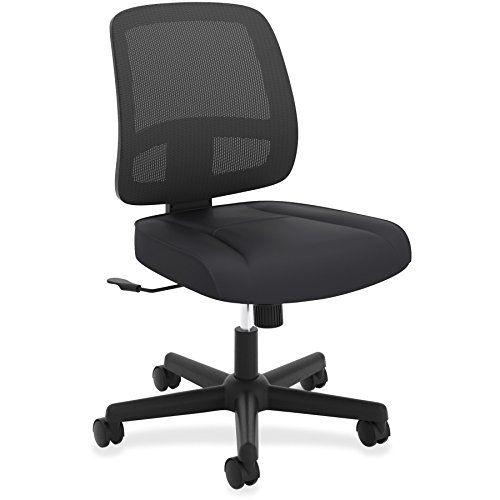 HON ValuTask Task Chair, Mesh Back Computer Chair For Office Desk, Black  (HVL205