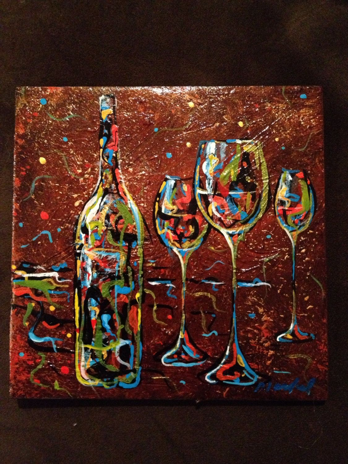Acrylic Wine Art Painted On 6 X6 Ceramic Tiles Wine Art Wine Painting Art