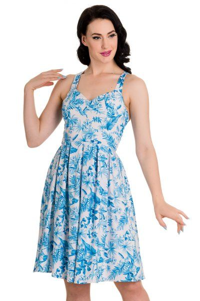 Esme Blue Floral Dress by Hell Bunny