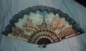 LADY'S FAN,paris,ornate design,fair cond,Decor,works,must see,aged etc