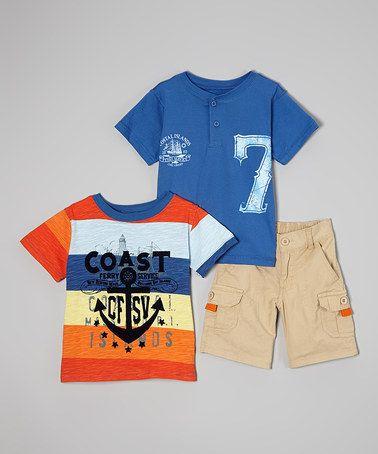 Look at this #zulilyfind! Khaki Cargo Shorts Set - Boys by BOYZ WEAR #zulilyfinds