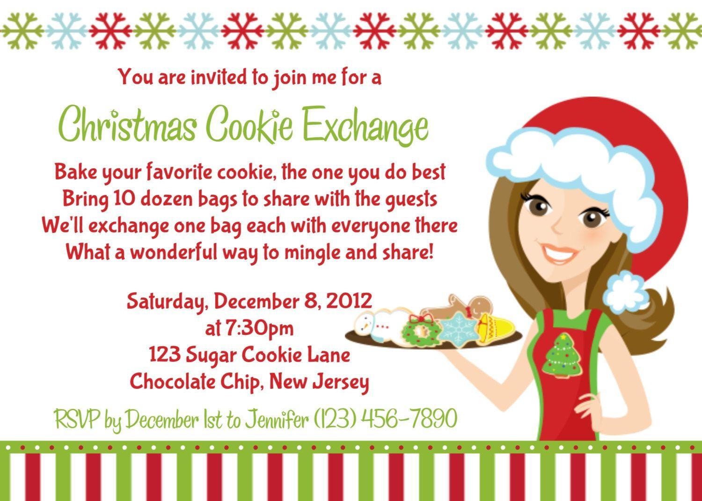 Cookie Exchange Invitation - Personalized Custom Christmas Cookie ...