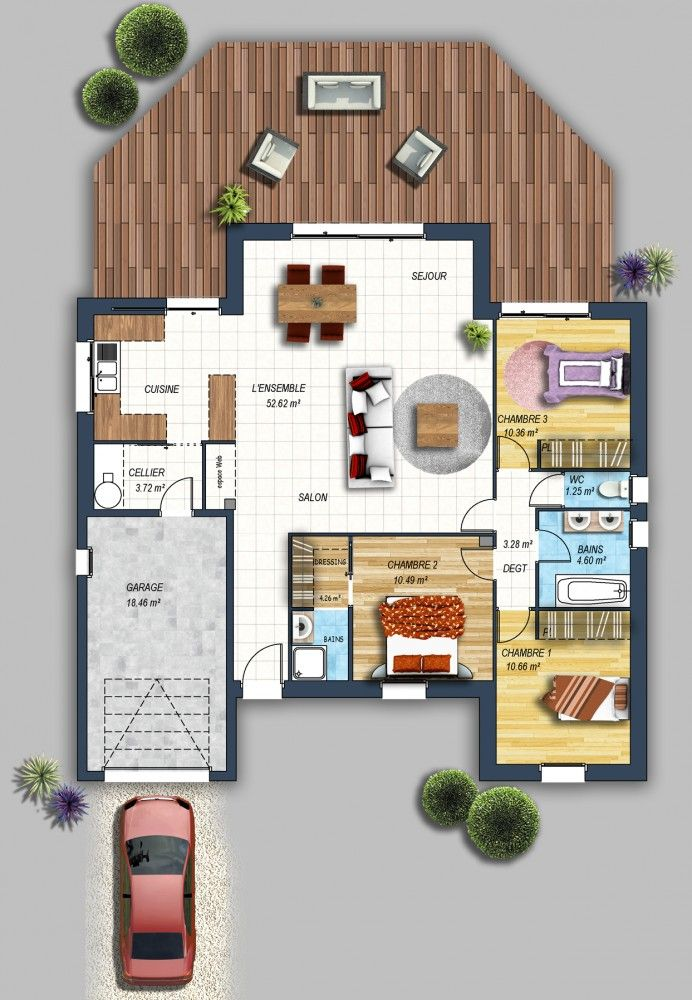 Maison contemporaine St Hilaire de Riez 85 Croquis, kawaii - plan de maison de 100m2 plein pied
