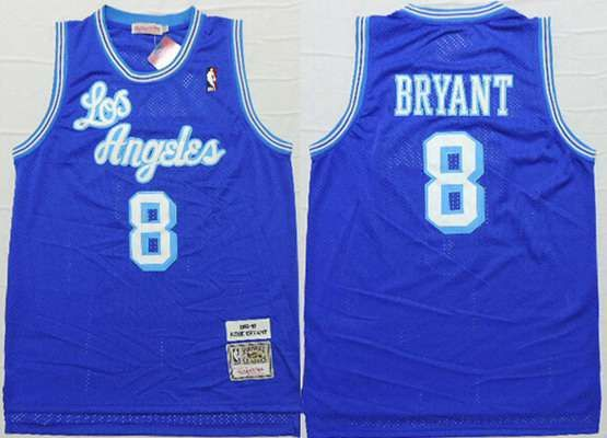5fef138d15c Men s Los Angeles Lakers  8 Kobe Bryant 1996-97 Blue Hardwood Classics Soul Swingman  Throwback Jersey