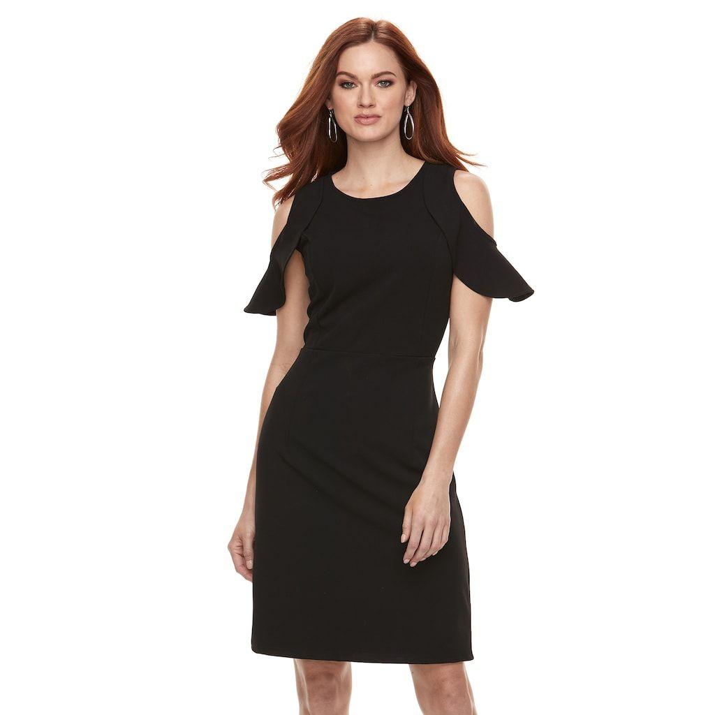 b02f2ace4d6a Women s Nina Leonard Cold-Shoulder Crepe Dress