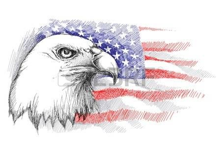 Sketch Of Bald Eagle Head On The Background With American Flag Isolated Template And For July 4 Design United Stated
