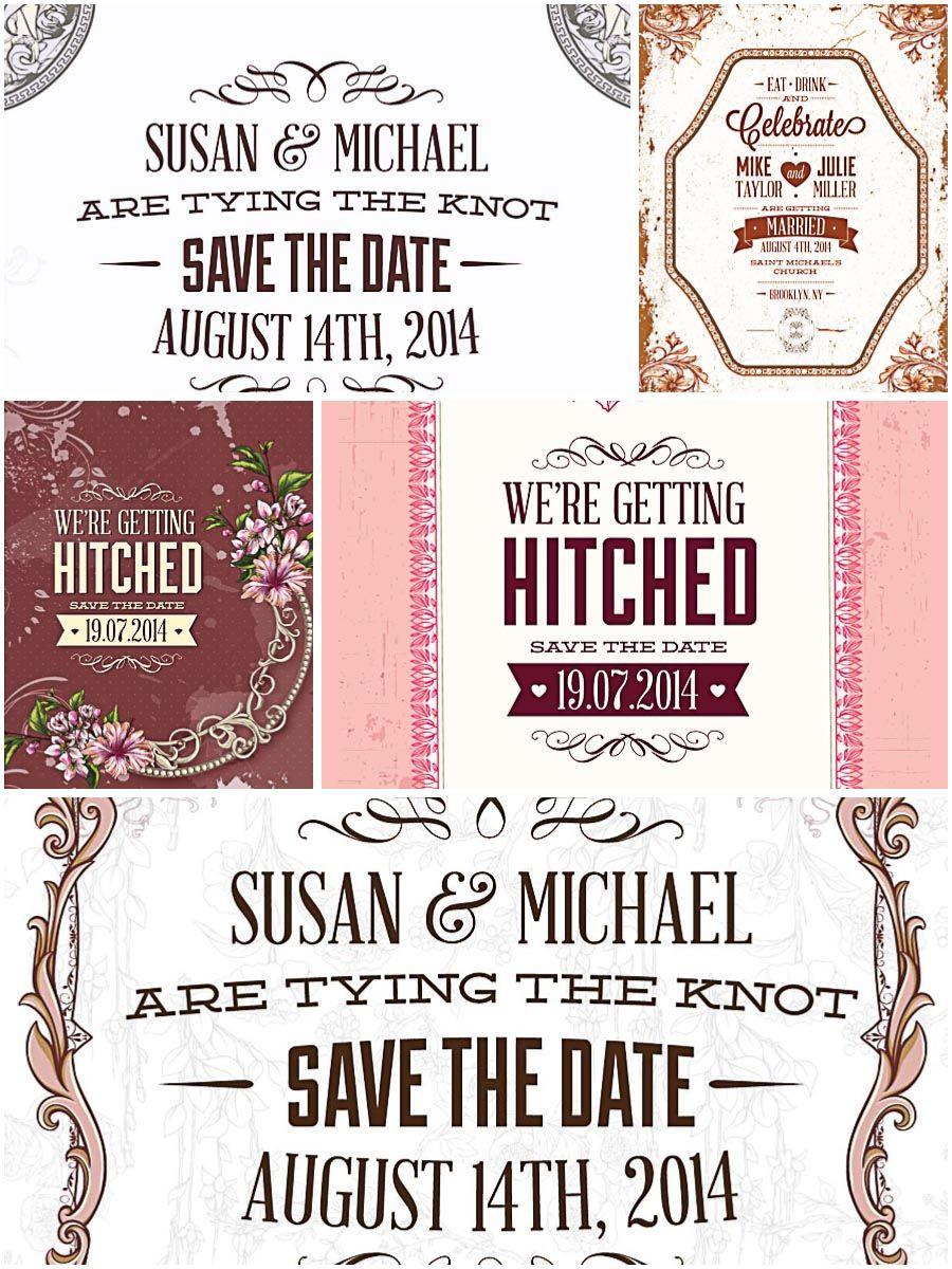 Ornate wedding invitations white set vectors   Wedding invitation sets