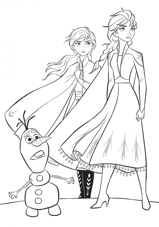 Frozen 7 coloring page Elsa, Anna and Olaf  Coloriage reine des