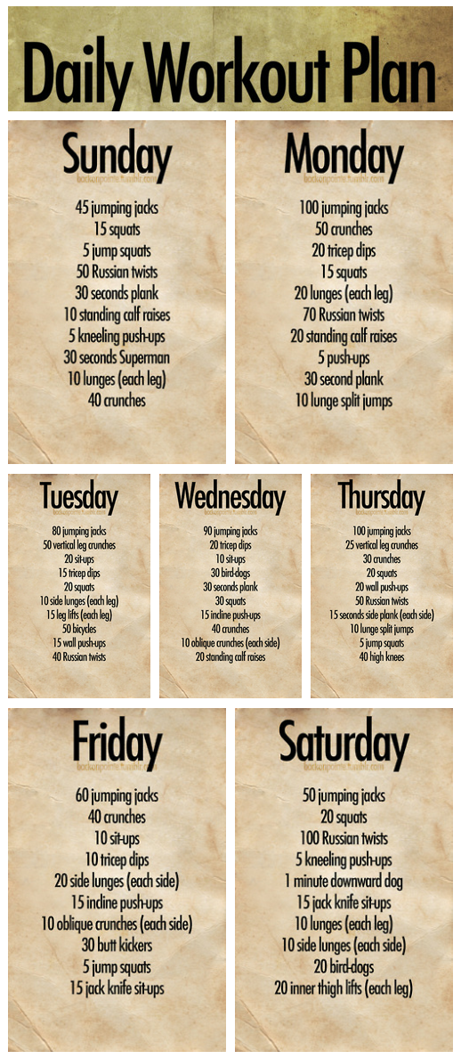 Daily Workout Plan (7 Days) Great As A Warmup Before A Run