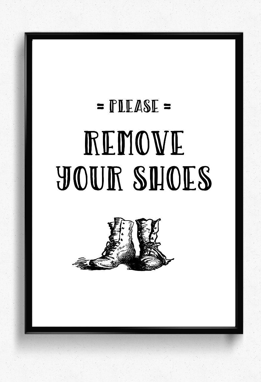 Please remove your shoes printable poster hallway decor no