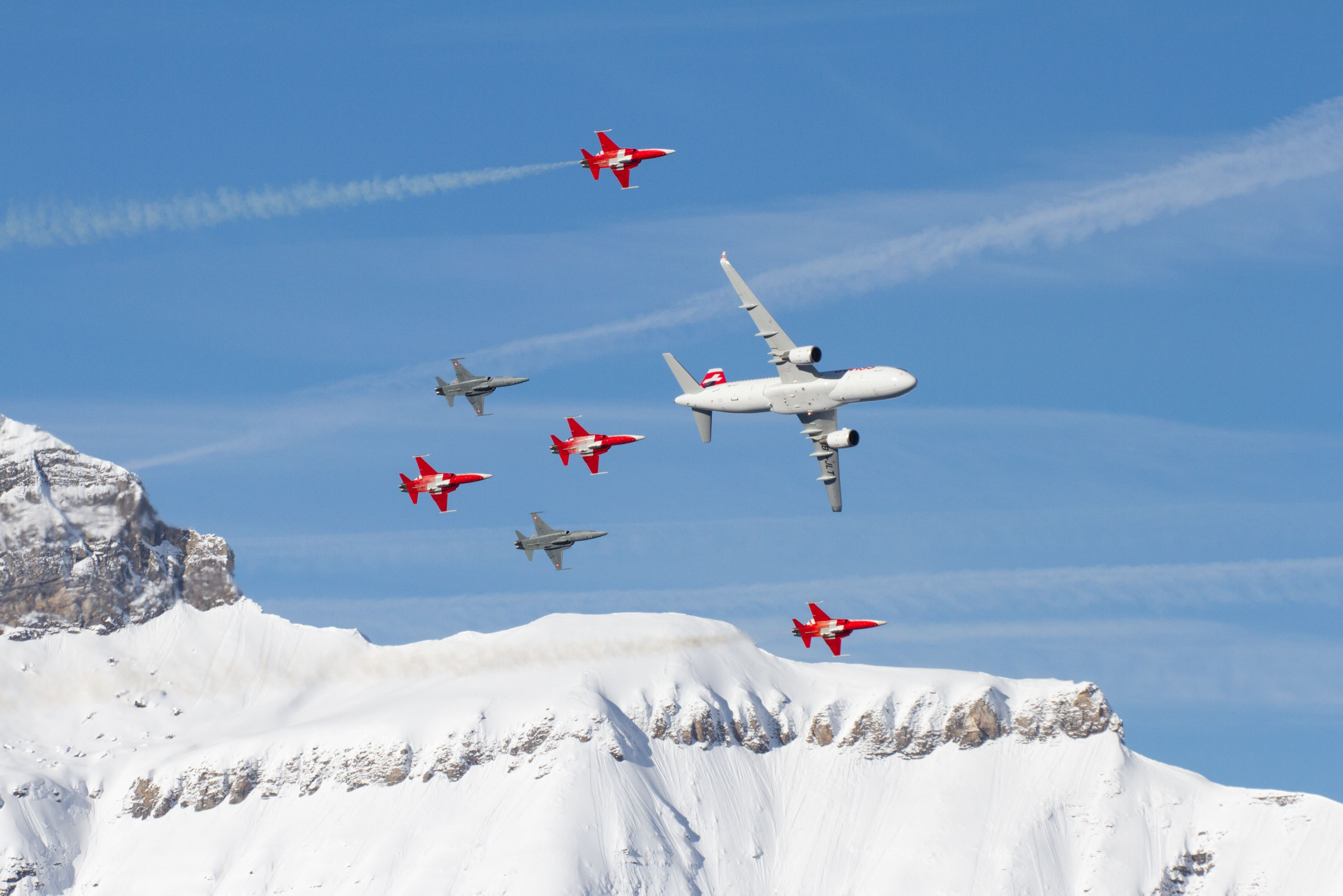 SWISS flypast together with Patrouille Suisse