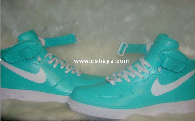 pretty nice c6b83 ffcf0 ... Custom Tiffany Blue and White Mid-Top Nike Air Force Ones ...