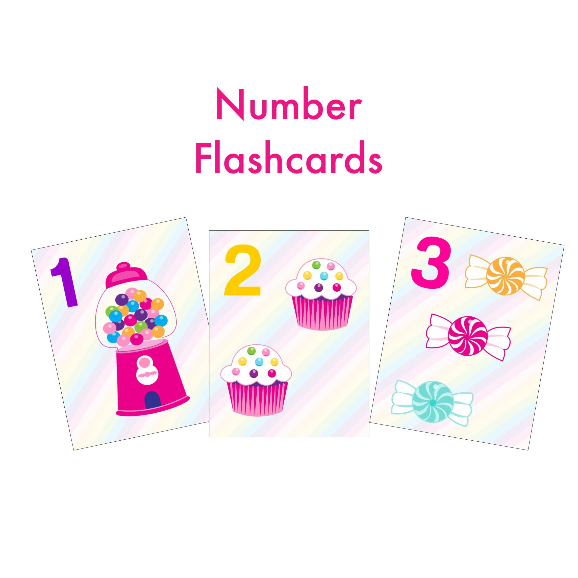 Candy Number Flashcards Preschool Learning Homeschool