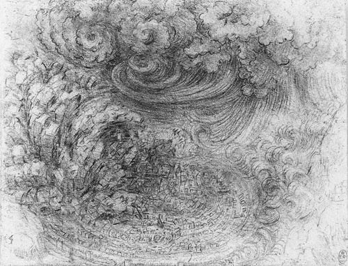 Image result for Leonardo da Vinci, A Deluge, with a Falling Mountain and Collapsing Town