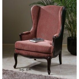 Uttermost Skipton Leather Wing Chair