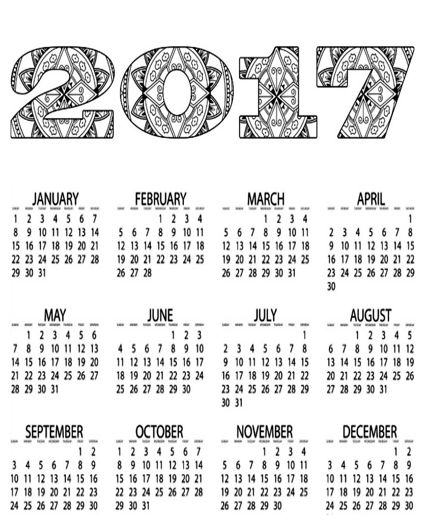 Free coloring pages august - Free Printable 2017 Calendar Coloring Page