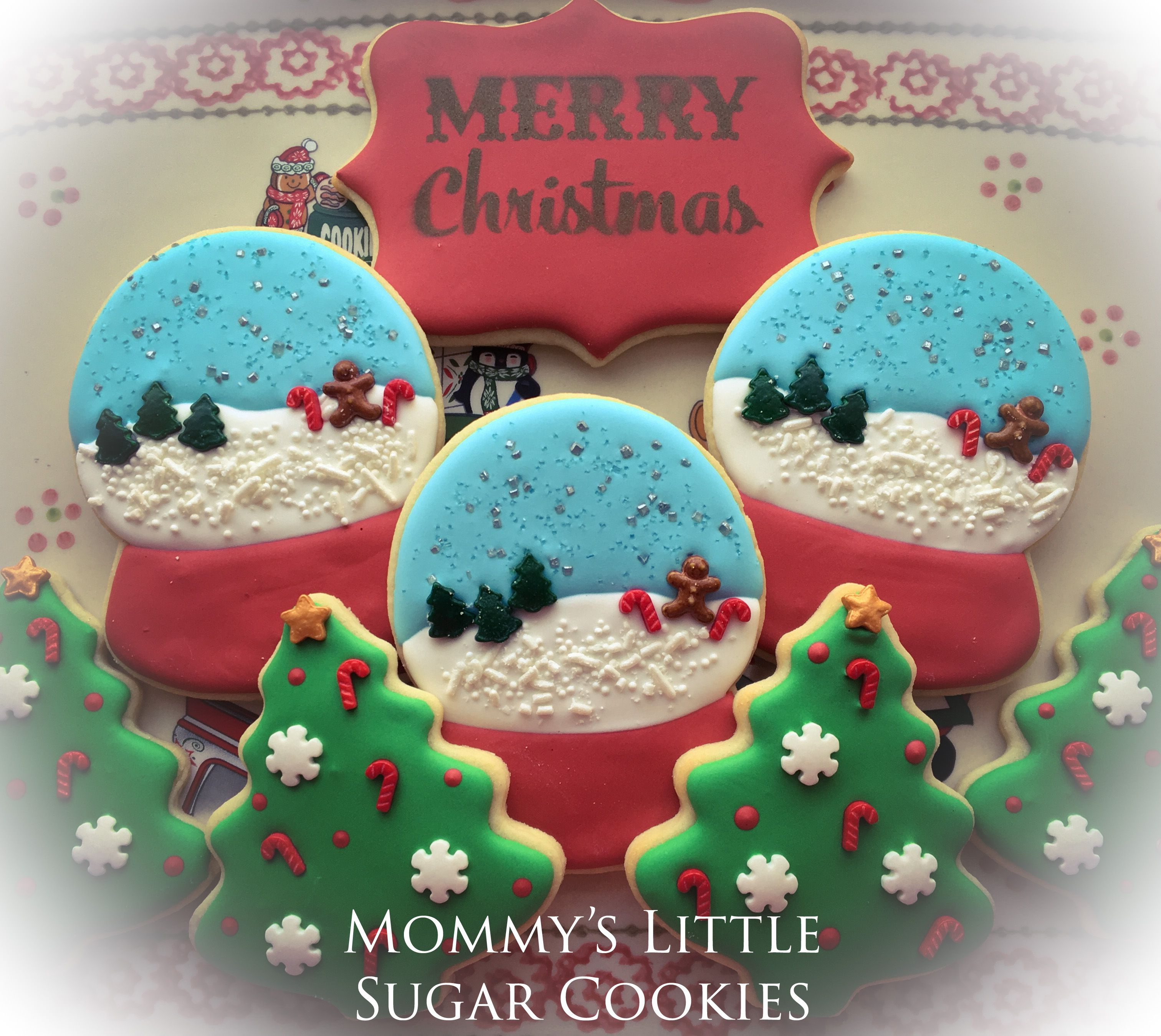 Merry Christmas Snowman Christmas Cookies Snow Globe Snow Globe