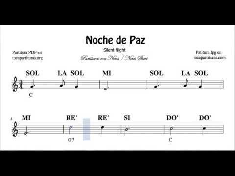 Noche De Paz Partitura Con Notas Para Flauta Violín Oboe Tutorial Con Notas Y Acordes En Do Mayor Youtube In 2020 Piano Music Notes Piano Music Piano Tutorial