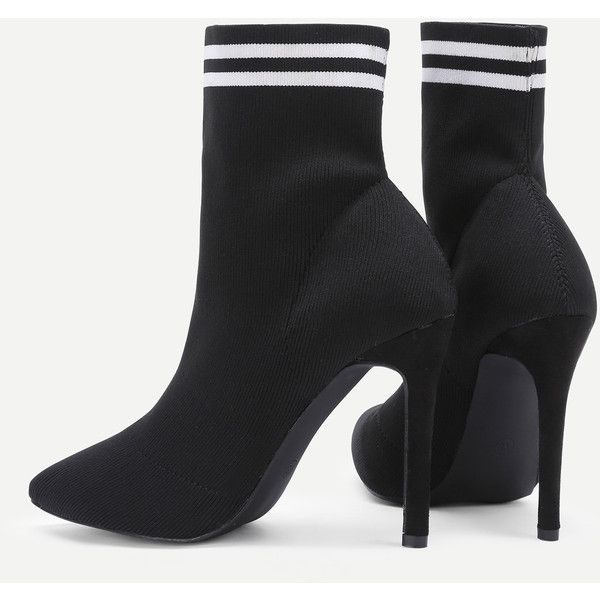 537423d80 Striped Detail Court Heeled Ankle Boots (1,405 THB) ❤ liked on Polyvore  featuring shoes, boots, ankle booties, bootie boots, ankle boots, ankle  bootie ...