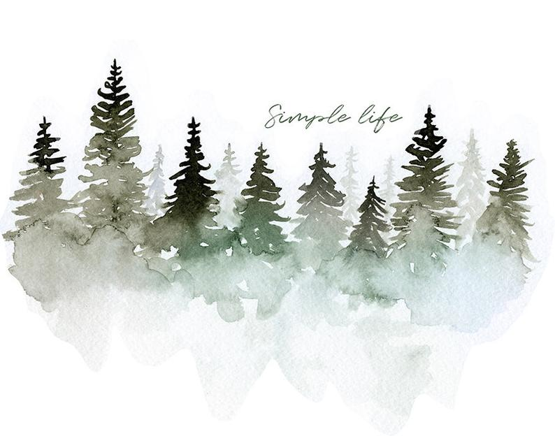 Watercolor Forest Watercolor Mountains Watercolor Pine Etsy Watercolor Mountains Watercolor Trees Watercolor Illustration