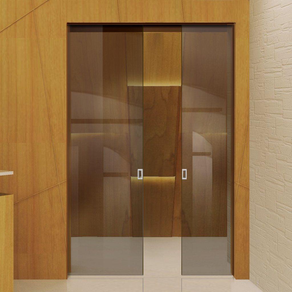 Eclisse 10mm Bronze Tinted Glass Double Pocket Door No Design Glassdoors Doublepocketdoors Glassp Pocket Doors Glass Pocket Doors Double Pocket Door