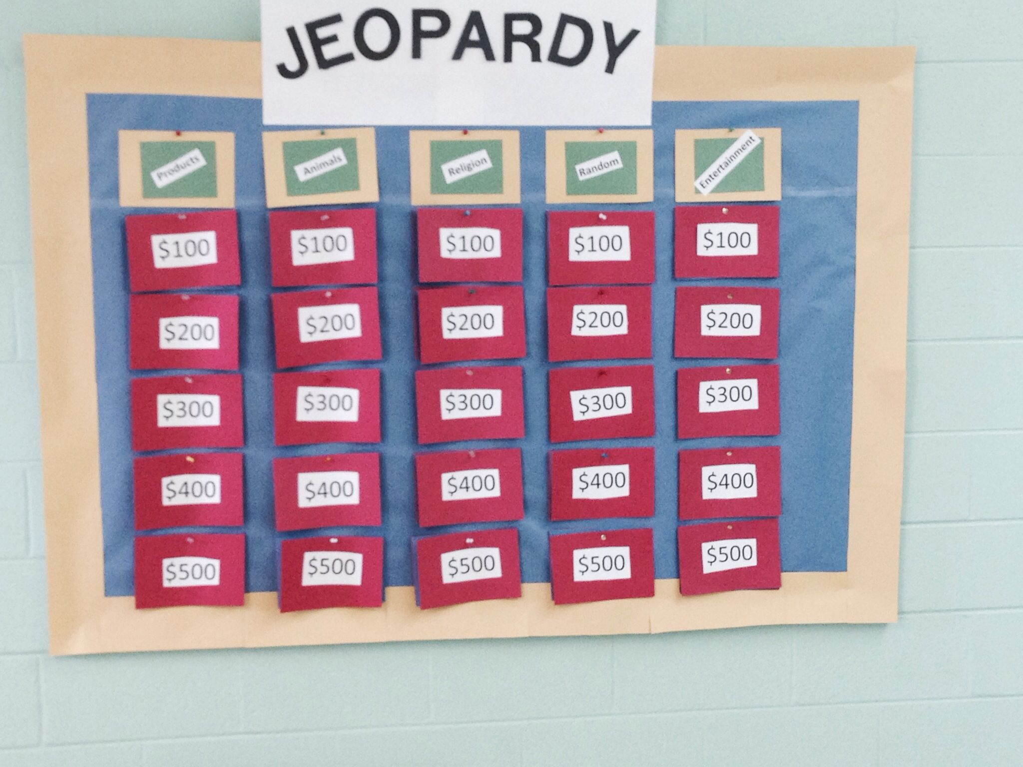 Jeopardy Board For Our Church Junk Food And Jeopardy