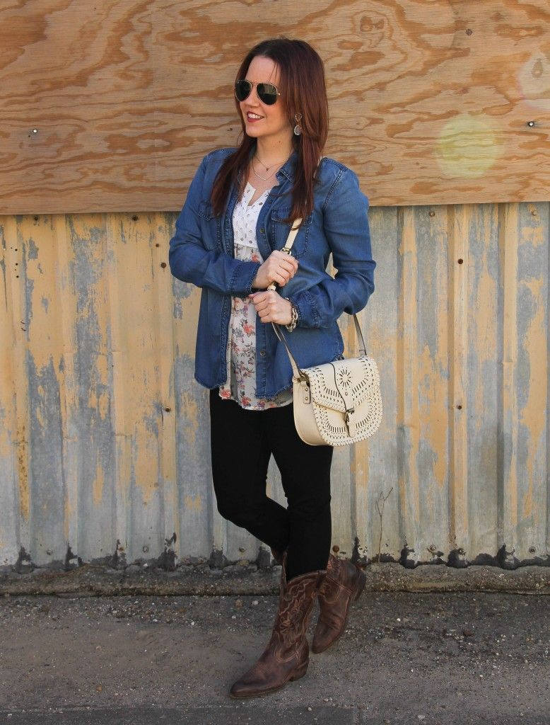 79eb478ff4f Rodeo Outfit: Floral Blouses and Cowboy Boots | Lady in Violet ...